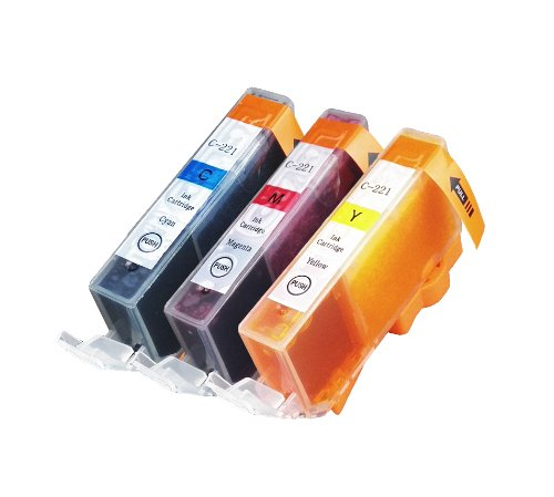 3 Pack Compatible Canon CLI 221 , CLI-221 , CLI221 1 Cyan, 1 Magenta, 1 Yellow for use with Canon PIXMA Ip3600, PIXMA Ip4600, PIXMA Ip4700, PIXMA MX860, PIXMA MX870. PIXMA Ip 3600, PIXMA Ip 4600, PIXMA Ip 4700, PIXMA MX 860, PIXMA MX 870.. Ink Cartridges for inkjet printers. Blake Printing Supply