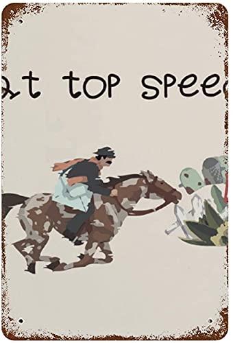 at Top Speed Running Horse Racing, cartel de chapa de metal vintage para decoración de pared, arte de 15.7'x11.8', decoración de pared de café familiar, pintura de arte retro, cartel de placa de hi