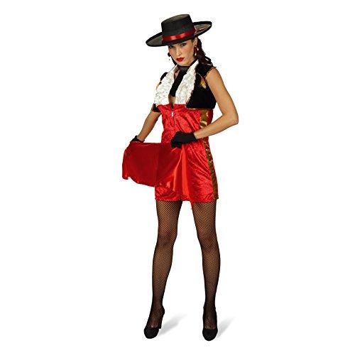 Elbenwald Miss Matador Spanierin Kostüm Damen 4-TLG Kleid, Bolero, Krawatte, Tuch perfekt für Karneval - 40/42