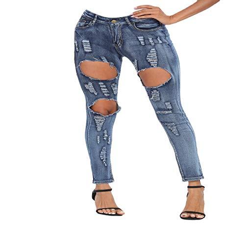 Luandge Jeans Ajustados Rasgados para Mujer, Cintura Media, Moda, Ajustados, Ajustados, Ropa de Calle, Pantalones de Mezclilla Lavados con Bolsillos XXL