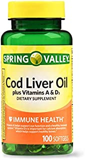 Spring Valley - Cod Liver Oil with Vitamin A & D 100 softgels by Spring Valley