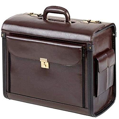 Pilotenkoffer Koffer Leder Braun Fächervortasche Seitentaschen XL