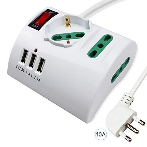 Extrastar Multipresa da Scrivania/Tavolo con 3 Presa USB,Presa con interruttore automatico di protezione 10A,Bianco,2500W,3 Prese (2 ITA/Schuko),1.5M