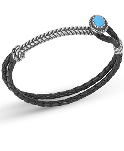 American West Sterling Silver Blue Turquoise Gemstone Black Leather Bracelet Size Medium