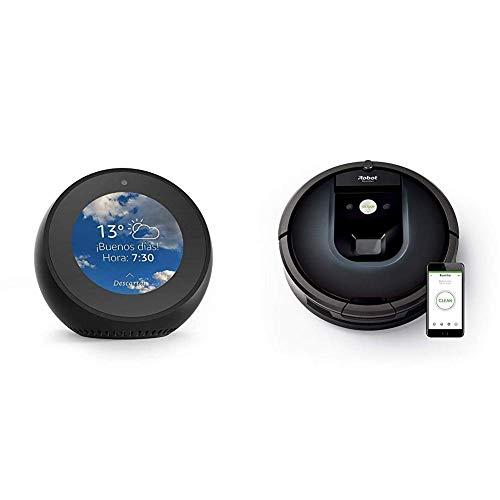 Echo Spot negro + iRobot Roomba 981 - Robot aspirador para alfombras, potencia de succión 10 veces superior, cepillos de goma antienredos, Dirt Detect, conexión Wifi, programable por app, compatible con Alexa