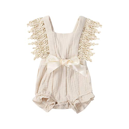 Newborn Infant Baby Girl Clothes Lace Halter Backless Jumpsuit Romper Bodysuit Sunsuit Outfits Set (New Beige, 0-6 Months)