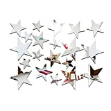 PRENKIN 20pcs/Set Forma de Estrella del Espejo Pegatinas 3D acrílico Estrellas Espejo Adhesivos de Habitaciones DIY la decoración del hogar del Papel Pintado