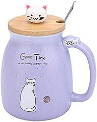TOPINCN Taza de Cerámica Lovely Cat Solid con Cuchara y Tapa de Madera Taza de Leche de Agua con Café para Drinkware Regalo Oficina 1Pc(Púrpura)