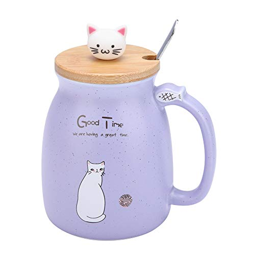 Schöne Katze Keramik Tasse Kaffee Wasser Milch Becher Teetasse Sets mit Löffel und Deckel für Home Office Drink Geschenk(Lila)