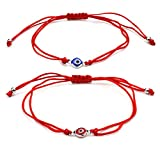 Lilloubella Lot de 2 Bracelet Mauvais Oeil Fil Rouge Kabbale Amulette de la Chance Hamsa Double Protection contre le mauvais oeil...