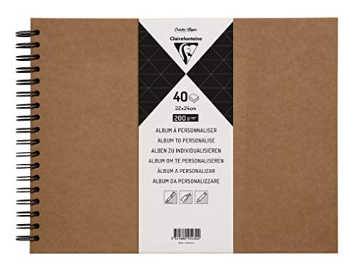 Clairefontaine 95430C Heft mit Kraftpapier zum Individualisieren (32 x 24 cm, 40 Blatt, 200 g, Spiralbindung, ideal als Gästebuch) 1 Stück kraft
