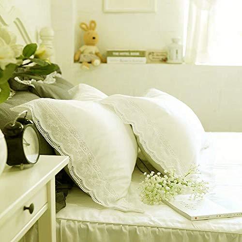 Meaning4 Weiße Spitzenkissenbezüge, King Size, reine Baumwolle, für Bett, Landhaus-Stil, 2 Stück, 50,8 x 91,4 cm