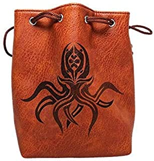 Brown Leather Lite Large Dice Bag with Cthulhu Design - Brown Faux Leather Exterior with Lined Interior - Stands Up on its Own and Holds 400 16mm Polyhedral Dice