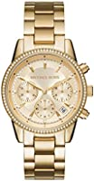 Michael Kors Women's Ritz Stainless Steel Watch With Crystal Topring