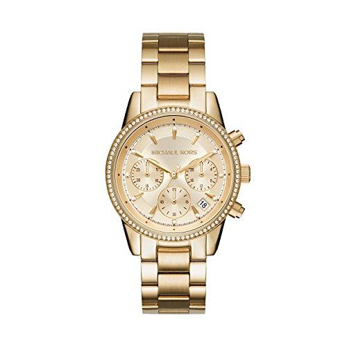 Michael Kors Damen Chronograph Quarz Uhr mit Edelstahl Armband MK6356