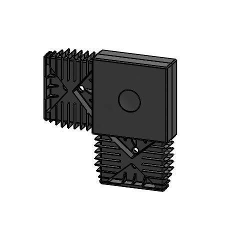 Alu-Unterkonstruktion System 20/60 Aluminium schwarz eloxiert, 2.000 x 20 x 60 mm (L-Verbinder Kunststoff, schwarz)