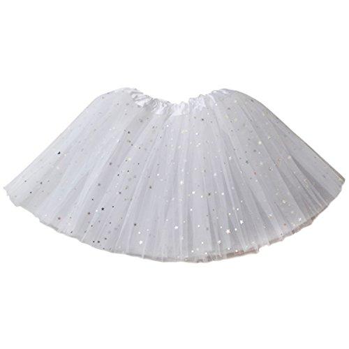 Jastore Girls Layered Stars Sequins Tutu Skirt Princess Ballet Dance Dress (White)