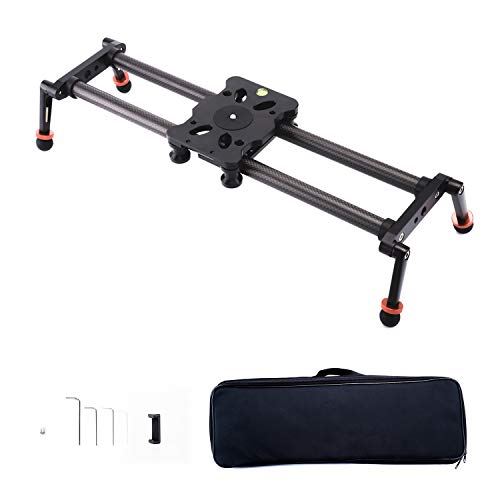 AKUGE Camera Slider 45cm/18 '', Carbon Fiber Camera Dolly Rail Compact Video Stabilizer with 4 Bearings for Smartphone, DSLR Camera, DV Video Camcorder Film Photography Load up to 22 lb/10kg