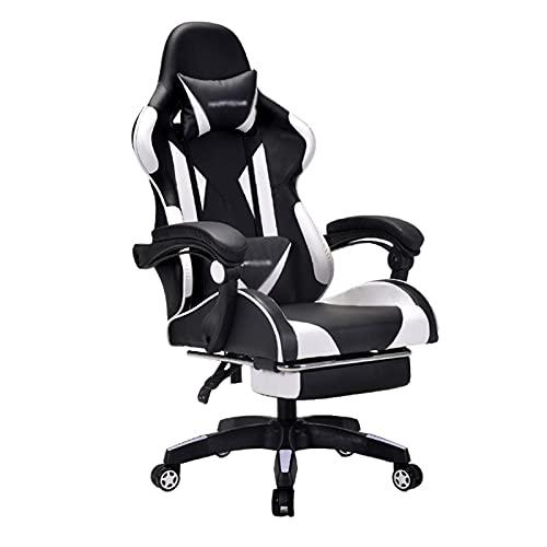 Sillón reclinable para videojuegos, ergonómico ajustable y acolchado, reposapiés giratorio con respaldo alto con reposacabezas de cuero para casa, oficina, escritorio, color blanco