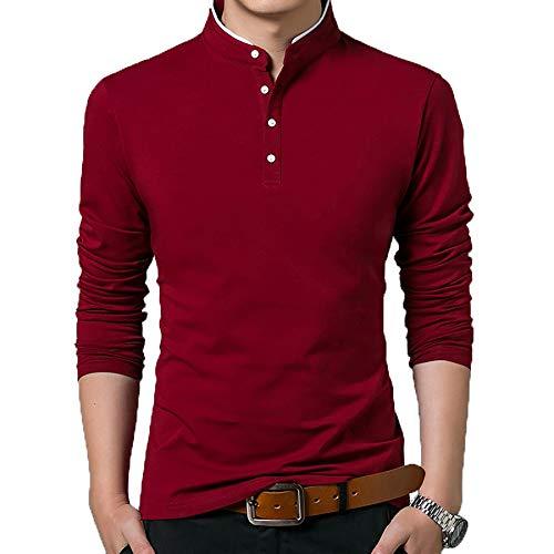Derrick Aled(k) zhuke Camiseta Hombre Camiseta De AlgodóN Camisetas De Color SóLido Tops Camisetas Cuello MandaríN Manga Larga Juventud