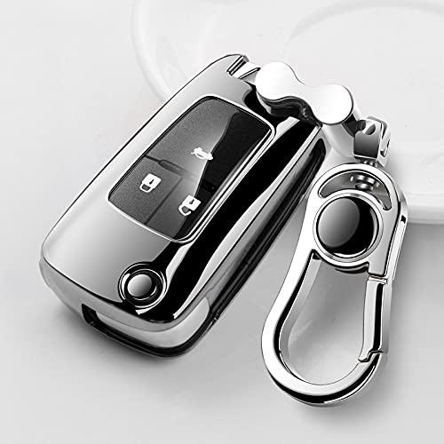 ZYHYCH Soft TPU Car Remote Key Case Cover, Apto para Buick Chevrolet Cruze Aveo Trax Opel Vauxhall Mokka Encore Astra Corsa Meriva Zafira, Plateado
