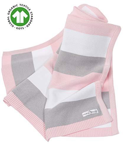 Babydecke aus 100% Bio Baumwolle in rosa für Mädchen von MINKY MOOH® - Die Strickdecke ist ideal als Schmusedecke oder Kuscheldecke - das #1 Neugeborenen Geschenk zur Geburt
