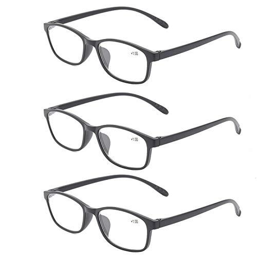 Suertree Blaulicht Leserille 3 Pack Blaulichtfilter Computer Brille Leicht TR90 Augenoptik Lesehilfe für Damen Herren 2.0x