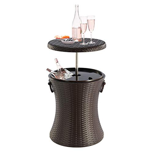 JANOON Rattan Style Outdoor Cool Bar Ice Cooler Table Garden Furniture Color Brown by Crystals®