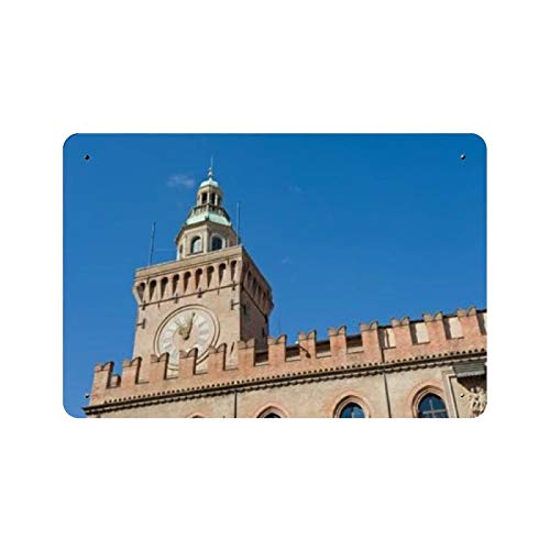 Torre del reloj, municipio de Bolonia, Italia, pintura de la naturaleza, decoración vintage para el hogar, letrero de arte de pared de 11.8 'x7.9', decoración de pared de café familiar, pintura de ar
