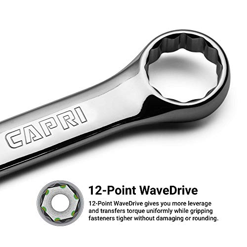 Capri Tools 15 mm Combination Wrench, 12 Point, Metric, Chrome (1-1315)