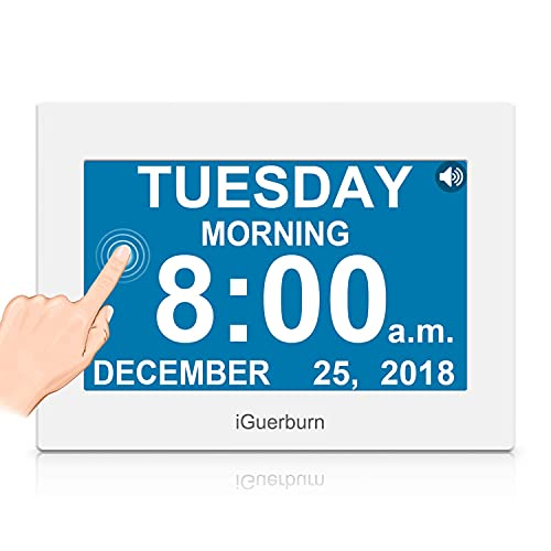 """iGuerburn Talking Night Day Clock 8"""" Large Display with Touchscreen for Dementia Seniors Alzheimer's Elderly Visually Impaired Memory Loss Digital Calendar with Date and Time 8 Alarms Manual Dim"""