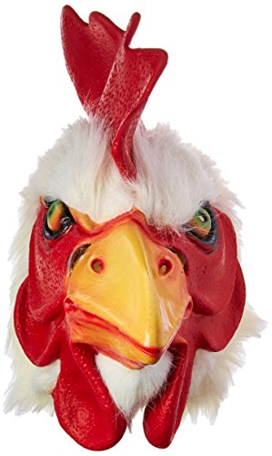 HMS Rooster Mask with Faux Fur Trim, White, One Size