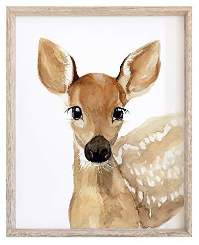 Child's Bedroom Decoration Watercolor Deer Print Woodland Animals Wall Art for Kids Room NOT FRAMED
