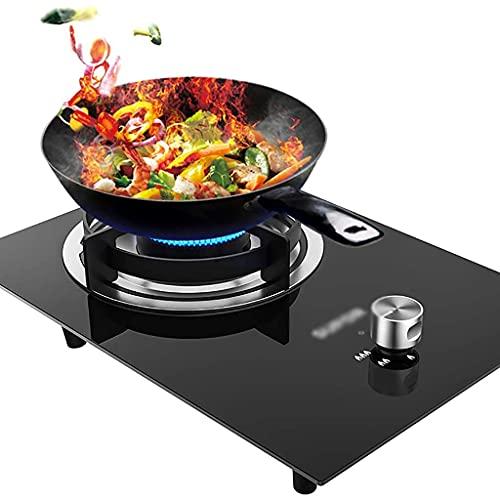 Nueva encimera de gas Estufa de sobremesa / Estufa de gas empotrada de una sola cocina, Estufa de gas de vidrio templado negro, con protección de falla de llama, Fácil de limpiar [Clase energética A]