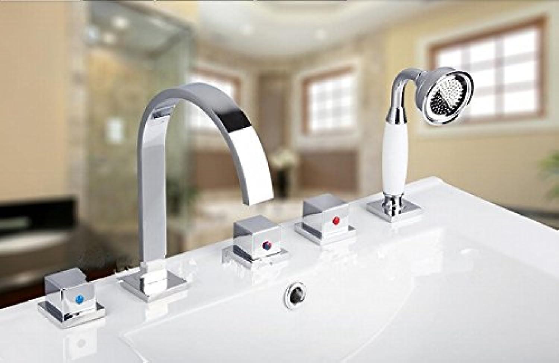 Gowe 5Stück Badezimmer Badewanne Waschbecken Messing Wasserhahn Vanity Einhebelmischer, chrom