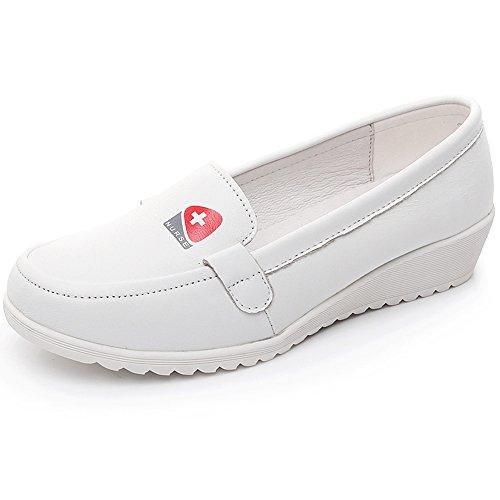 Shenn Mujer Cuña Comodidad Ponerse Enfermera Cuero Zapatos H3355 (Blanco, EU39)