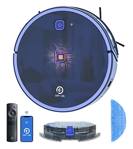 Robot Vacuum Cleaner, 2200PA Automatic Charged Robotic Vacuums Smart WiFi Voice Control with Alex Google Assistant, OKP Vacuum Robot Super Quiet Works on Hard Floor & Pet Hair Carpet