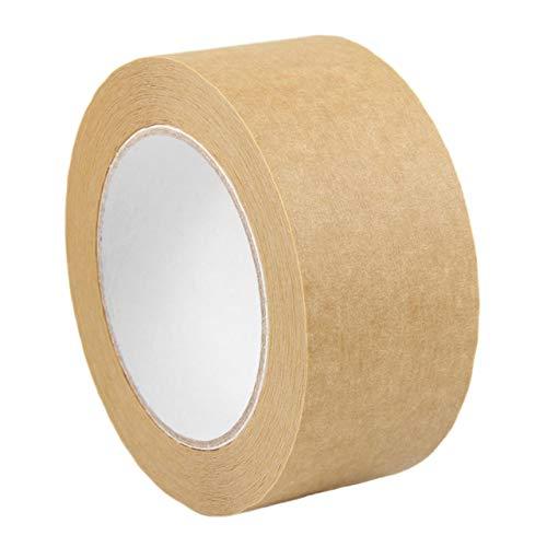 Packband aus Papier   Hochwertiges Verpackungsklebeband 50 mm x 50 m   Zum sicheren Verschließen von leichten bis mittelschweren Kartons   Hochqualitatives Papierpackband