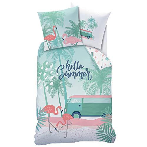 Matt&Rose Juego de ropa de cama con flamencos, ropa de cama para niñas, diseño de flamencos y palmeras, funda de almohada de 80 x 80 cm y funda nórdica de 135 x 200 cm, 100% algodón