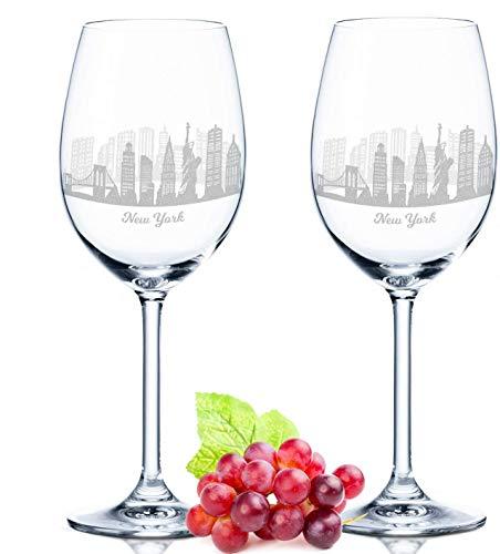 Leonardo Weinglas mit Gravur - New York Geschenk im 2er Set - Weingeschenk - Souvenir Andenken & Mitbringsel - Geburtstagsgeschenk für Sie & Ihn