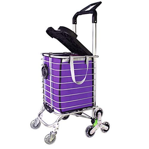 RSWLY Carretilla Ligera del Carro de la Compra de 8 Ruedas con la manija Ajustable, tirilla del tirón de la Rueda del Aluminio Que Sube con la Tapa Plegable - púrpura
