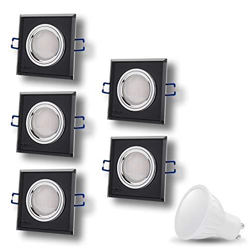 Cristal Black, faretti rotondi 230 V a LED, SMD 7 W, bianco caldo, faretti da incasso per soffitto, nero a specchio con attacco GU10 e cavo da 15 cm, Set da 5, GU10 7.0watts 230.00volts