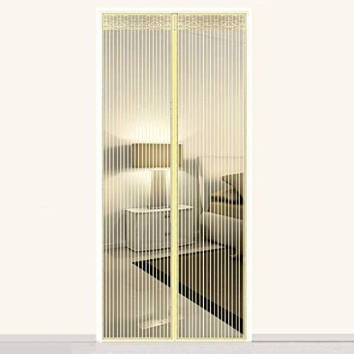 Heavy Duty Magnetische Vliegengordijnen, Versterkt Volledige Magnetische Streep Magnetische Hordeur Stofdicht Voor Balkon Huiskamer Patio Vliegengaas-Rijst kleur-220x110cm(87x43inch)