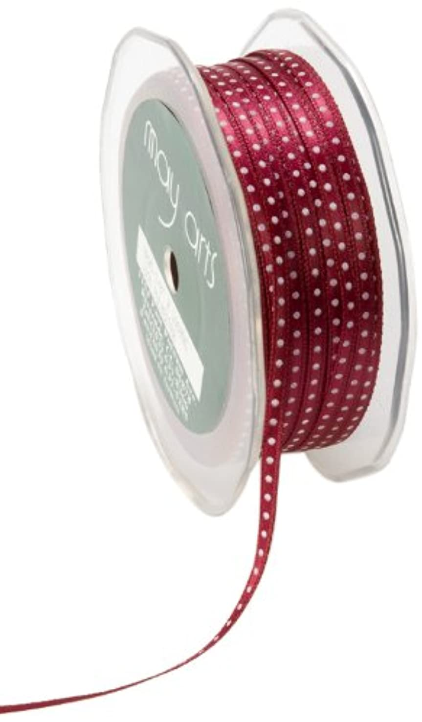 May Arts 1/8-Inch Wide Ribbon, Burgundy and White Satin Dot