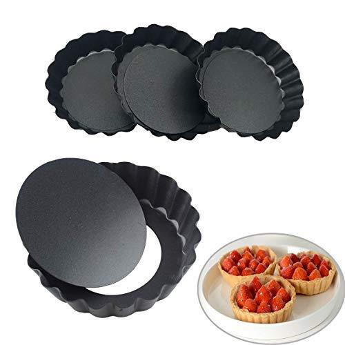 4 Piezas Quiche Tart Pan, Moldes de Horno para Tartaletas con Base Extraíble, 10 cm Tart Pie Plato Sarté, Sartenes Quiche para Quiche Hornear Pastel Individuales Reposteria