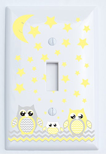 Grey and Yellow Owl Light Switch Plate Covers/Owl Woodland Forest Nursery Decor (Single Toggle Light Switch Plates)