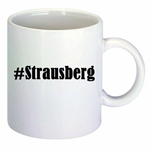Kaffeetasse #Strausberg Hashtag Raute Keramik Höhe 9,5cm ? 8cm in Weiß