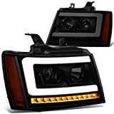 3D LED DRL Sequential Turn Signal Tinted/Amber Projector Headlight Lamps Replacement for 07-14 Tahoe Suburban Avalanche