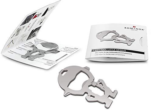 Geschenkartikel: ROMINOX Key Tool // Little Genius,13 Funktionen, Keytool Schlüsselanhänger, Edelstahl Multitool inkl. Funktionsbeschreibung, Multifunktionswerkzeug, auf Reisen oder im Urlaub