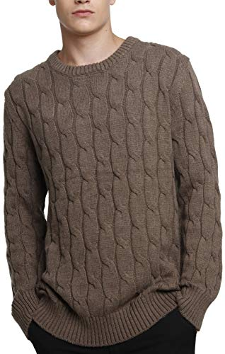 LinyXin Cashmere Herren Kaschmir Pullover Wolle Rundhals Warm Lose Langarm Freizeit Winter Pulli Sweater (XL, Brown)